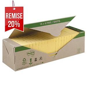 Notes recyclées Post-it - 76 x 76 mm - jaunes - 24 blocs x 100 feuilles
