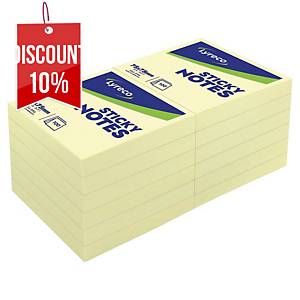 Lyreco Sticky Notes 76x76mm 100-Sheet Yellow - Pack Of 12