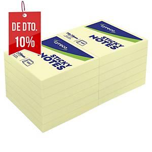Pack de 12 blocks de 100 notas adesivas Lyreco - amarelo - 76x76mm