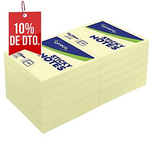 Pack de 12 blocks de 100 notas adhesivas Lyreco - amarillo - 76 x 76 mm