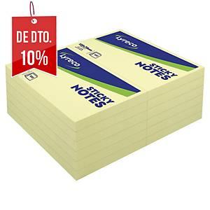 Pack de 12 blocos notas adesivas Lyreco - amarelo - 76x127mm