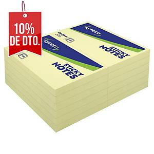 Pack de 12 blocks de 100 notas adhesivas Lyreco - amarillo - 76 x 127 mm