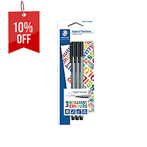 STAEDTLER 334 TRIPLUS FINELINER BLACK PEN - PACK OF 3