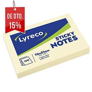 Bloco 100 notas adesivas Lyreco - amarelo - 51x76mm