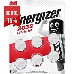 Pack de 6 pilhas-botão de lítio Energizer CR2032