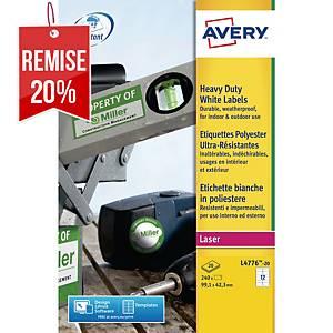 Etiquette ultra-résistante Avery - L4776-20 - 99,1 x 42,3 mm - blanche - par 240