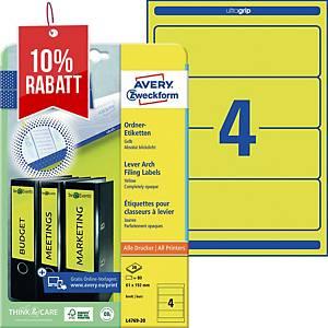 Ordner-Etiketten Avery Zweckform L4769-20 kurz / breit gelb 20 Bogen/80 Stück