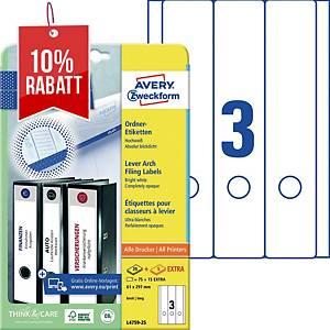 Ordner-Etiketten Avery Zweckform L4759, lang / breit, weiß, 30 Blatt/90 Stück