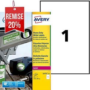 Etiquette ultra-résistante Avery - L4775-20 - 210 x 297 mm - blanche - par 20