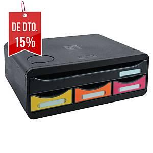 Minimódulo de gavetas Exacompta Toolbox com base Qi - 4 gavetas - sortido