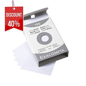 BX100 EXACOMPTA RECORD CARDS A7 SQRD WH