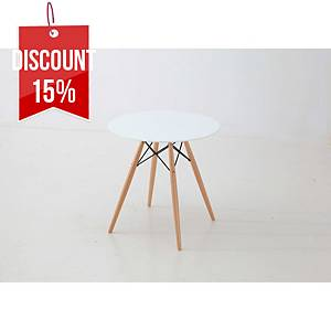 ELA TABLE WOOD ESTRUC 80ØX74CM WITHE