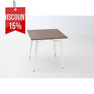 VINTAGE TABLE STEEL 75X80X80CM WHT/BAMB