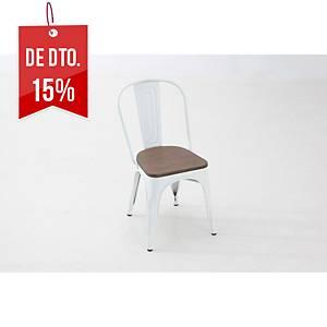 Cadeira office Vintage - branco/bambu
