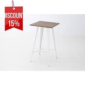 VINTAGE TABLE STEEL 105X60X60CM WHT/BAMB