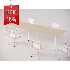 Mesa de reunião Ofitres Ocean - larg. 2000 mm - carvalho/branco