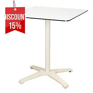 OFFICE TABLE CROSS BASE 70X70X74CM WH/WH