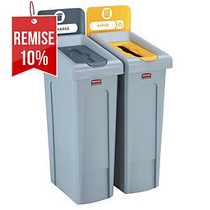 Poubelle tri sélectif Rubbermaid Slim Jim 2 flux - gris/jaune