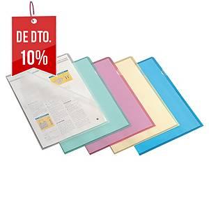 Pack de 100 pastas ranhura Lyreco - A4 - PP - 110 µ - azul