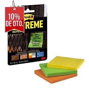 Pack de 3 block de notas adhesivas Post-it Extreme  - surtidos - 76 x 76 mm