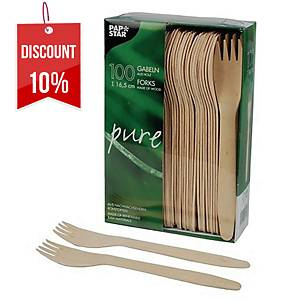 PK100 PAPSTAR PURE WOODEN FORKS