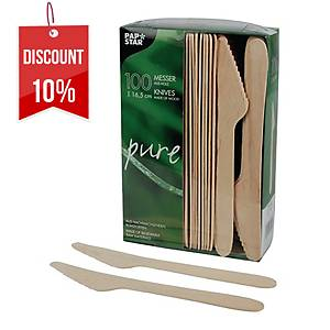 PK100 PAPSTAR PURE WOODEN KNIVES
