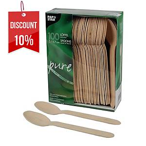 PK100 PAPSTAR PURE WOODEN SPOONS