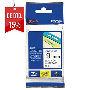 Fita Brother TZe-221 - 9 mm - PE - texto preto/fundo branco