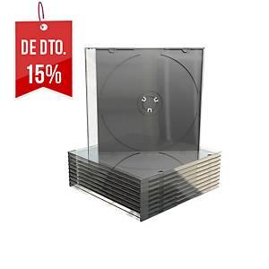 Pack de 25 caixas MediaRange para CD/DVD slim - transparente e preto