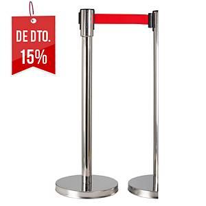 Poste separador fita extensível Normaluz - vermelho - 2 m