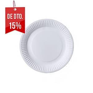 Pack de 100 pratos Nupik - papelão biodegradável - 18cm