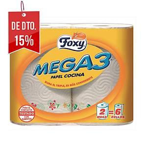 Pack de dois rolos de cozinha Foxy Mega3