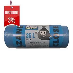 PK30 WASTE BAG EASYBIND HD BLUE 35L
