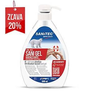 Dezinfekčný gél na ruky Sanitec s obsahom alkoholu, s pumpičkou, 600 ml