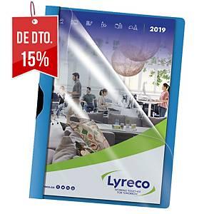 Pack de 5 pastas com mola Lyreco - A4 - PP - 30 folhas - azul
