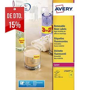 Caixa de 350 etiquetas Avery L7263Y-25 - 99,1x38,1mm - amarelo fluor
