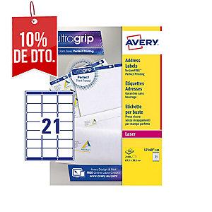Caja de 2100 etiquetas autoadhesivas blancas AVERY L7160-100 cantos romos