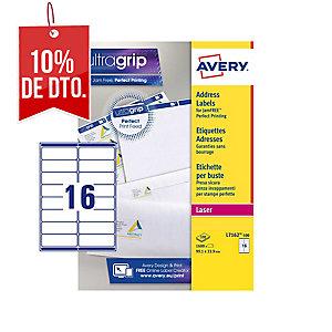 Caja de 1600 etiquetas autoadhesivas blancas AVERY L7162-100 cantos romos