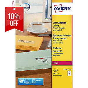 AVERY L7563 CLEAR LASER LABEL 99.1X38.1 MM - BOX OF 350