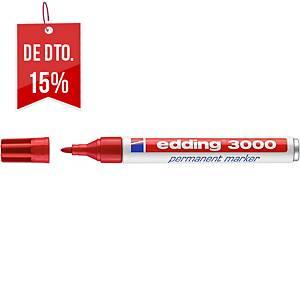 Marcador permanente Edding 3000 - ponta cónica 1,5-3 mm - vermelho