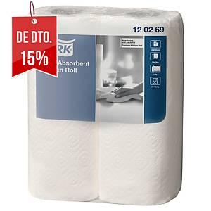 Pack de 2 rolos de papel de cozinha Tork - Folha dupla - branco