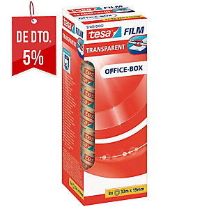 Pack 8 rollos de fita adesiva transparente TESA Office Film 19 mm x 33m