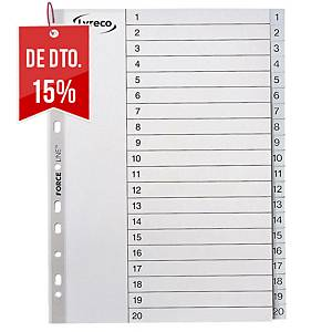 Conjunto 20 separadores numéricos Lyreco - A4 - PP