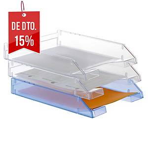 Pack 2 tabuleiros de secretária Archivo 2000 715-TL - poliestireno- transparente