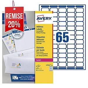 Etiquette mini Avery - L7651-100 - 38,1 x 21,2 mm - blanche - par 6500