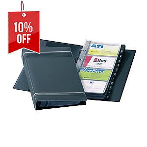 DURABLE VISIFIX BLACK BUSINESS CARD RING BINDER FILE - 200 CARD CAPACITY