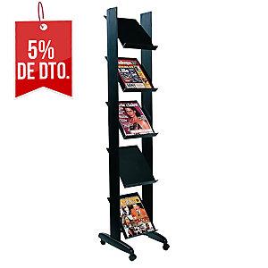 Expositor metálico color negro c/5 estanterías  Dimensiones: 350 x 1650 x 382mm