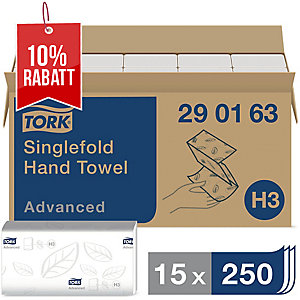 Falthandtuch Tork Advanced 290163, 2-lagig, Tissue, 15 Bündel a 250 Tücher