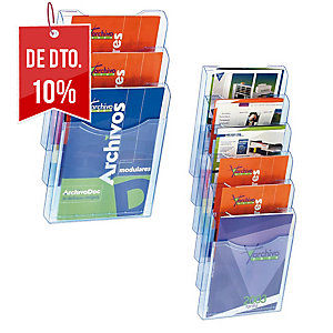 Expositor parede azul transp vertical c/6 boxes A4  Dimensões: 235 x 300 x 40mm