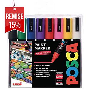 Marqueur peinture Uni-ball Posca - pointe conique moyenne - 8 coloris